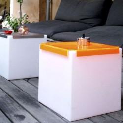 Table basse lumineuse - KUBO - INOX ou PLEXI - SLIDE
