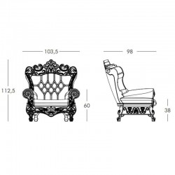 Fauteuil trône - Queen Of Love - taille