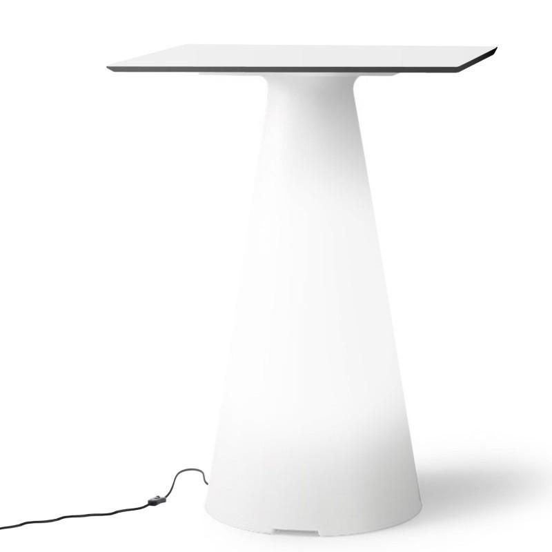 Table de bistrot lumineuse avec plateau carré de 60 cm - TIFFANY