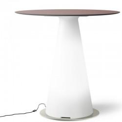 Table de bistrot lumineuse avec plateau rond Ø70 - TIFFANY - lemobilierlumineux.com