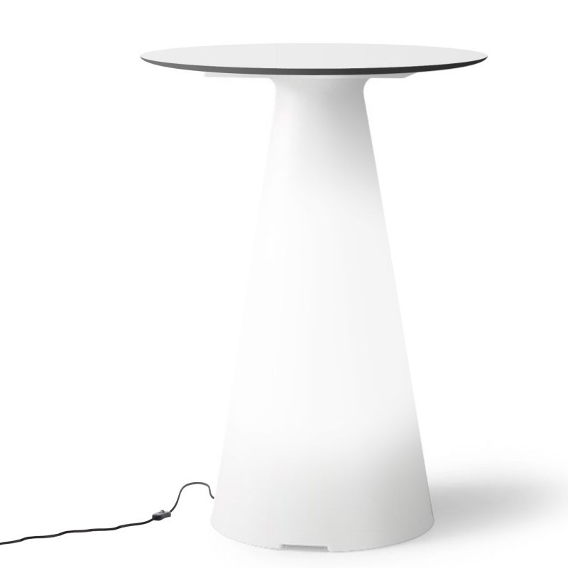 Table de bistrot lumineuse avec plateau rond Ø60 - TIFFANY