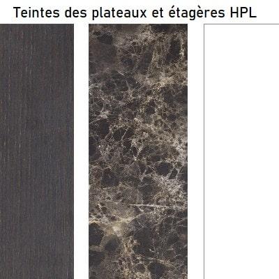 Choix des finitions des plateaux et étagères du bar lumineux CORDIALE SLIDE